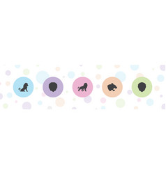 5 lion icons vector image