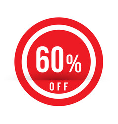 60 percent off - red sale stamp - special offer vector image
