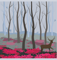 a deer in fairy forest background for the vector image