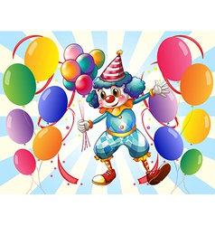 A group of balloons with a circus clown vector