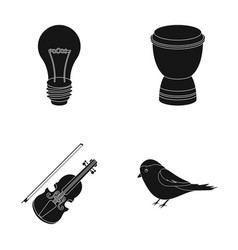 A light bulb a drum and other web icon in black vector