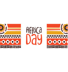 Africa day banner with tribal art decoration vector