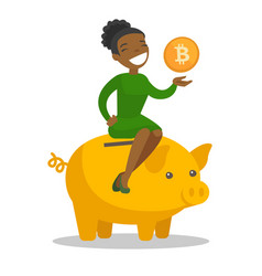 African manager putting a coin in a piggy bank vector
