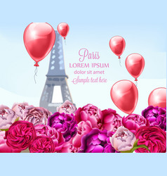 balloons and peony flowers in paris vector image