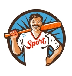 Baseball logo sport or player icon vector