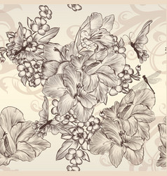 beautiful seamless wallpaper with vintage flowers vector image