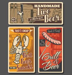 beer and brewery snacks posters vector image