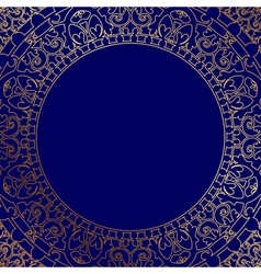 Blue frame with gold ornament vector