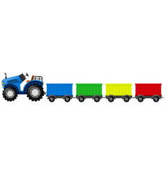 Blue tractor with four wagon carts vector