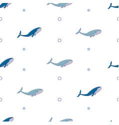blue whale doodle print vector image