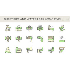 Burst pipe and water leak icon set design 48x48 vector
