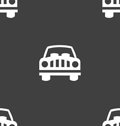 Car Icon sign Seamless pattern on a gray vector image