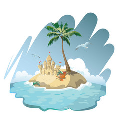 cartoon island with a sandy house vector image