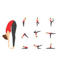 cartoon woman yoga poses icons set vector image