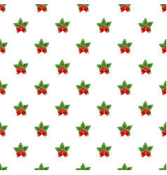 christmas bow with holly berry pattern vector image
