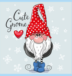 Christmas card cute cartoon gnome on a blue vector