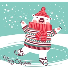 Christmas card with cute polar bear on an ice rink vector image