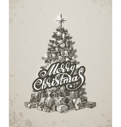 Christmas hand drawn fur tree for xmas design vector image