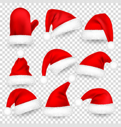 christmas santa claus hats with fur set mitten vector image