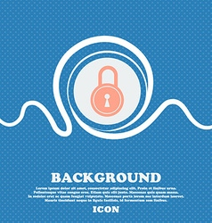closed lock icon sign Blue and white abstract vector image