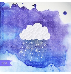 cloud with snowfall on watercolor backdround vector image