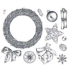 collection christmas objects - wreath star vector image