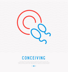 Conceiving thin line icon sperm in egg vector