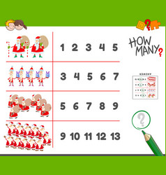 Counting task with santa claus characters vector