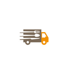 creative speed truck fork spoon knife logo design vector image