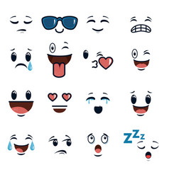 cute faces doodle emoji cartoon vector image
