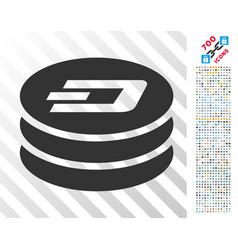 Dash coin column flat icon with bonus vector