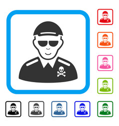 Deadly officer framed happy icon vector