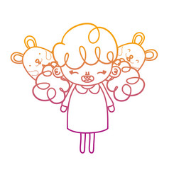 Degraded line happy girl child with mice animals vector