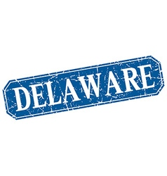 Delaware blue square grunge retro style sign vector