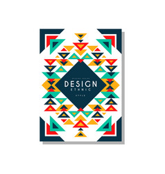 Design ethnic style card temlate colorful ethno vector