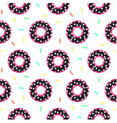 donut black and pink sweet seamless pattern vector image