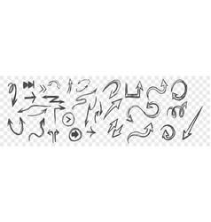 doodle arrows sketches set vector image
