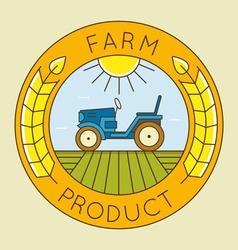 Farm tractor emblem logo - natural product vector