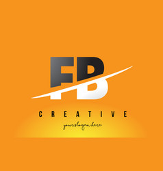 Fb f b letter modern logo design with yellow vector