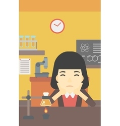 Female student working at laboratory class vector