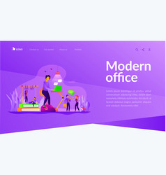 Fitness-focused workspace landing page template vector