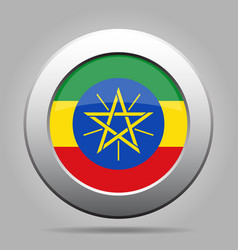 Flag of ethiopia metal gray round button vector