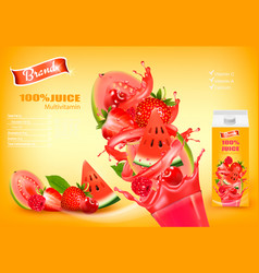Fresh juice with exotic fruits and splashing vector