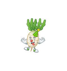 Funny clown daikon on cartoon character mascot vector
