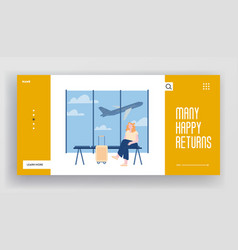 Girl going to trip website landing page young vector