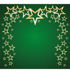 Gold stars on a green background vector image