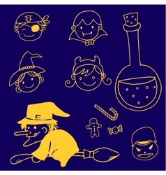 Halloween in doodle character witch and face vector