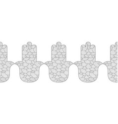 hamsa hand black and white for vector image