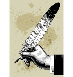 hand with feather vector image
