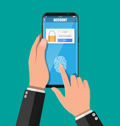 hands with smartphone unlocked by fingerprint vector image